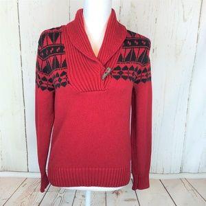 Lauren Ralph Lauren Red Black Shawl Collar Sweater